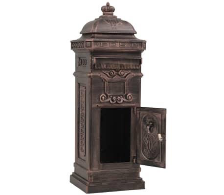 vidaXL Cutie poștală stâlp, aluminiu, stil vintage, inoxidabil, bronz[4/14]