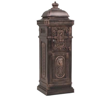 vidaXL Cutie poștală stâlp, aluminiu, stil vintage, inoxidabil, bronz[6/14]