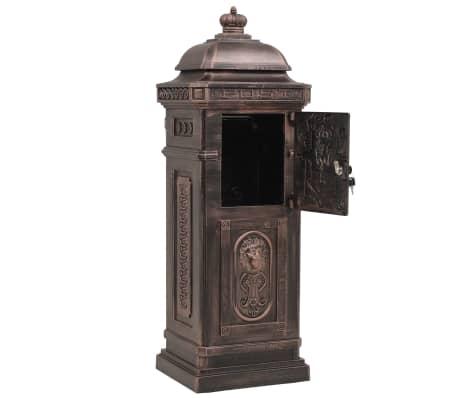 vidaXL Cutie poștală stâlp, aluminiu, stil vintage, inoxidabil, bronz[8/14]