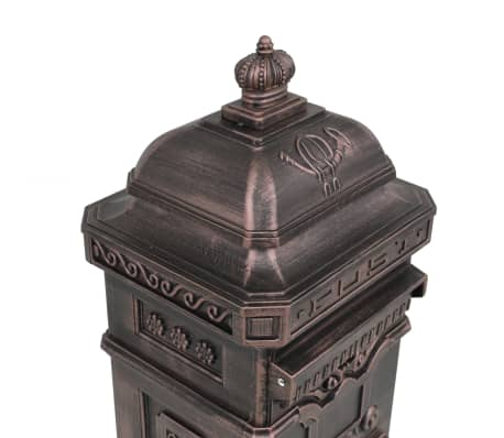 vidaXL Cutie poștală stâlp, aluminiu, stil vintage, inoxidabil, bronz[9/14]