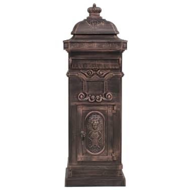 vidaXL Cutie poștală stâlp, aluminiu, stil vintage, inoxidabil, bronz[3/14]