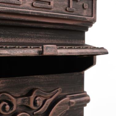 vidaXL Cutie poștală stâlp, aluminiu, stil vintage, inoxidabil, bronz[12/14]