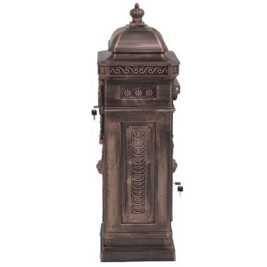 vidaXL Cutie poștală stâlp, aluminiu, stil vintage, inoxidabil, bronz[5/14]