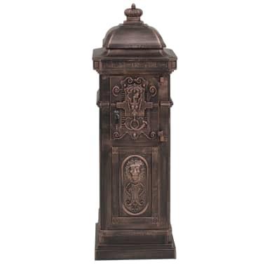 vidaXL Cutie poștală stâlp, aluminiu, stil vintage, inoxidabil, bronz[7/14]