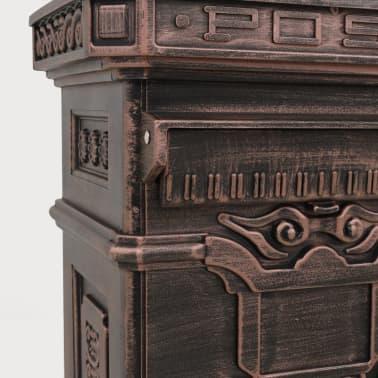 vidaXL Cutie poștală stâlp, aluminiu, stil vintage, inoxidabil, bronz[11/14]