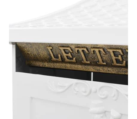 vidaXL Cutie poștală cu picior, aluminiu, vintage, inoxidabilă, alb[5/13]