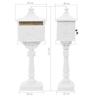 vidaXL Cutie poștală cu picior, aluminiu, vintage, inoxidabilă, alb[13/13]
