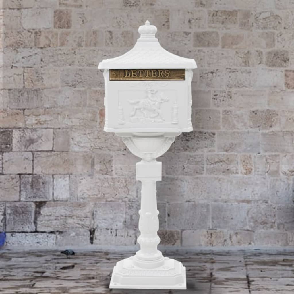 vidaXL Poštovní schránka s podstavcem hliník vintage rezuvzdorná bílá