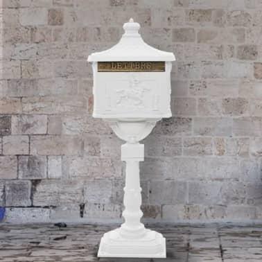 vidaXL Cutie poștală cu picior, aluminiu, vintage, inoxidabilă, alb[1/13]