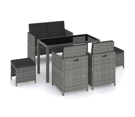 vidaXL 6 Piece Outdoor Dining Set with Cushions Poly Rattan Gray