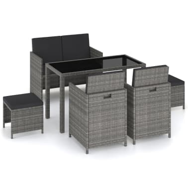 vidaXL 6 Piece Outdoor Dining Set with Cushions Poly Rattan Gray[1/11]