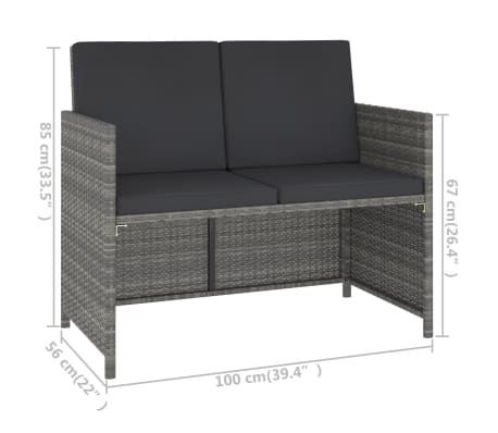 vidaXL 6 Piece Outdoor Dining Set with Cushions Poly Rattan Gray[6/11]