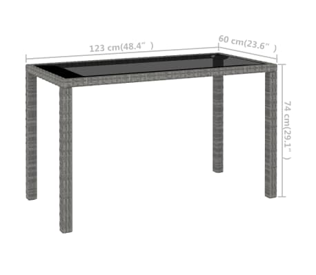 vidaXL 6 Piece Outdoor Dining Set with Cushions Poly Rattan Gray[7/11]