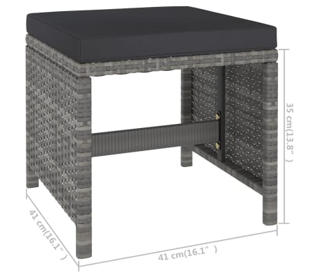 vidaXL 6 Piece Outdoor Dining Set with Cushions Poly Rattan Gray[9/11]