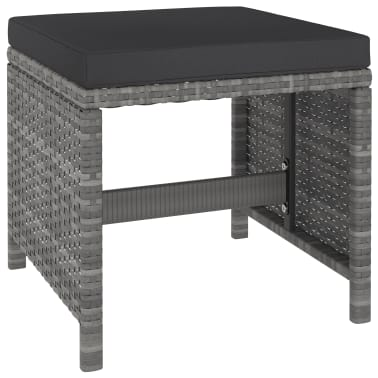 vidaXL 6 Piece Outdoor Dining Set with Cushions Poly Rattan Gray[4/11]