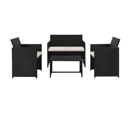 vidaXL 4 Piece Garden Lounge with Cushions Set Poly Rattan Black