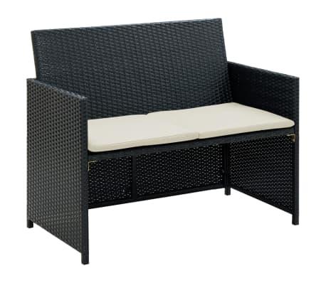 vidaXL 2 Seater Garden Sofa with Cushions Black Poly Rattan