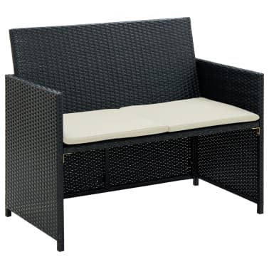 vidaXL 2 Seater Garden Sofa with Cushions Black Poly Rattan[1/2]