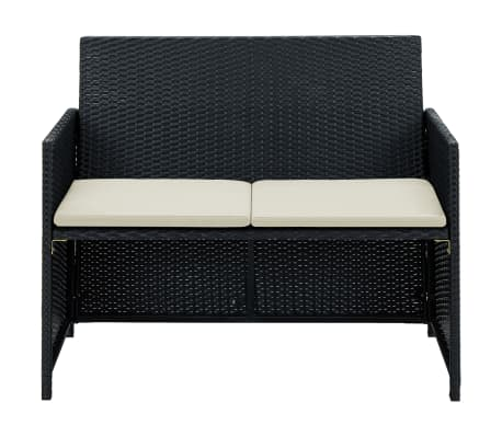 vidaXL 2 Seater Garden Sofa with Cushions Black Poly Rattan[2/2]