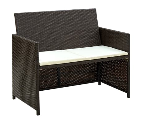 vidaXL 2 Seater Garden Sofa with Cushions Brown Poly Rattan[1/2]