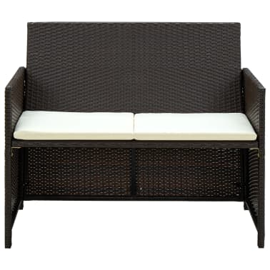 vidaXL 2 Seater Garden Sofa with Cushions Brown Poly Rattan[2/2]