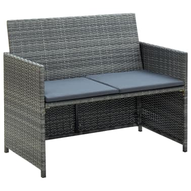 vidaXL 2 Seater Garden Sofa with Cushions Gray Poly Rattan[1/2]