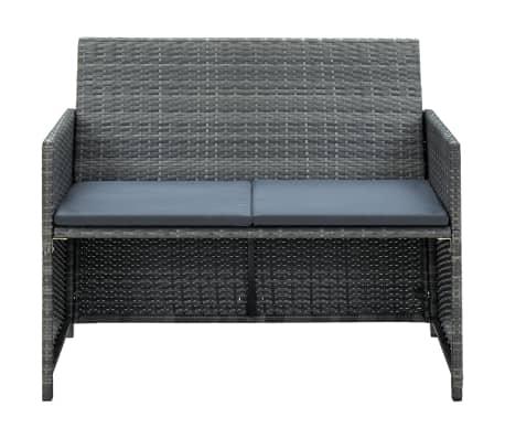 vidaXL 2 Seater Garden Sofa with Cushions Gray Poly Rattan[2/2]