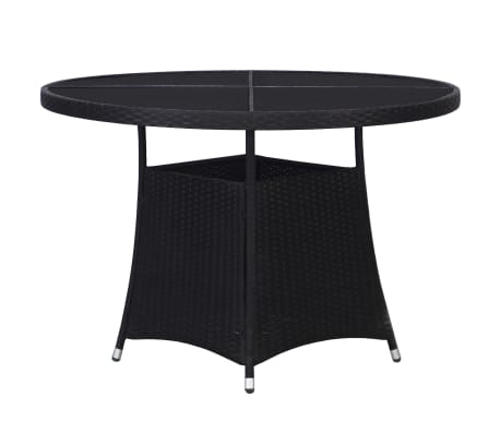 vidaXL Table de jardin Noir 110 x 74 cm Résine tressée
