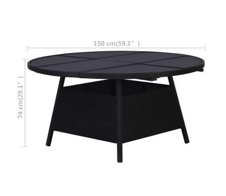 vidaXL Table de jardin Noir 150 x 74 cm Résine tressée
