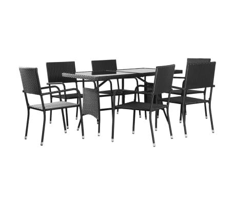vidaXL 7 Piece Outdoor Dining Set Poly Rattan Black