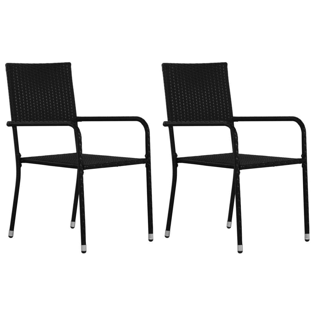 vidaXL Zahradní jídelní židle 2 ks černé polyratan