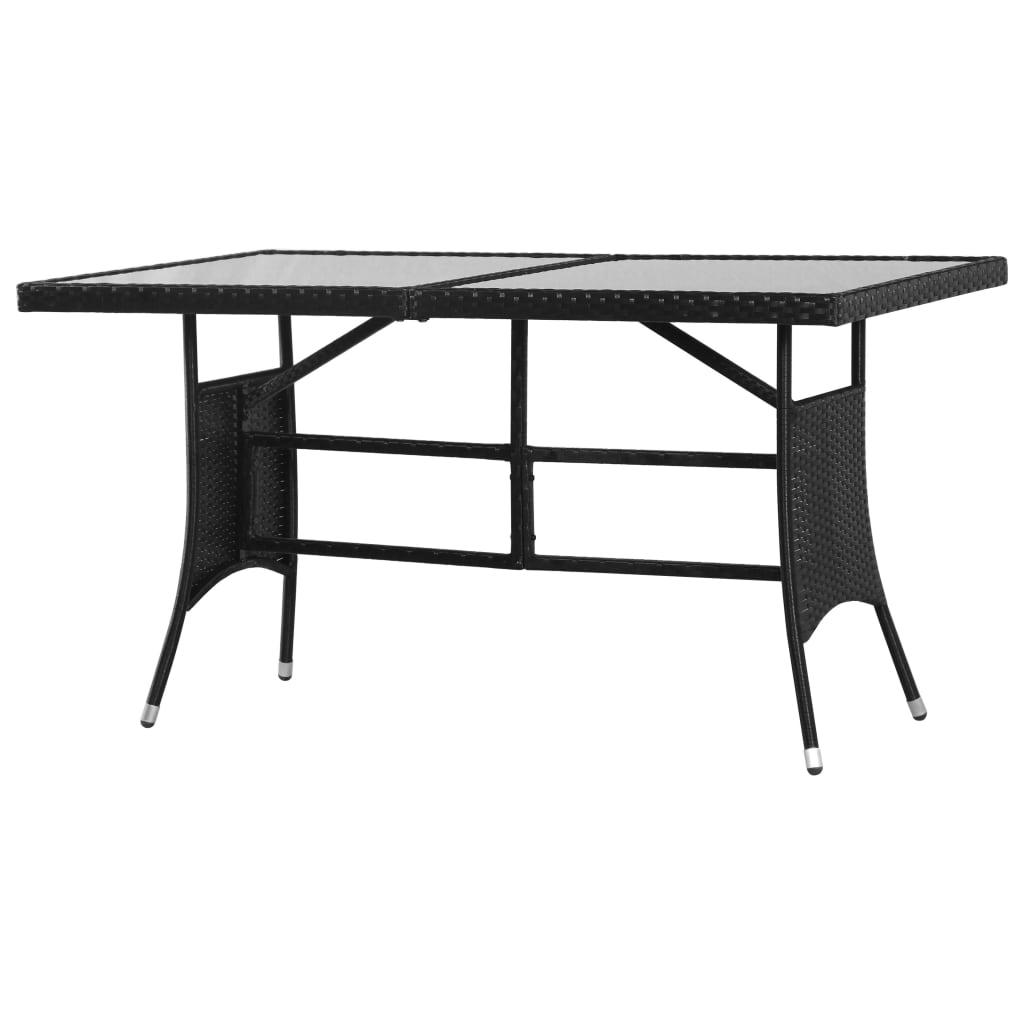 vidaXL Stół ogrodowy, czarny, 140x80x74 cm, polirattan