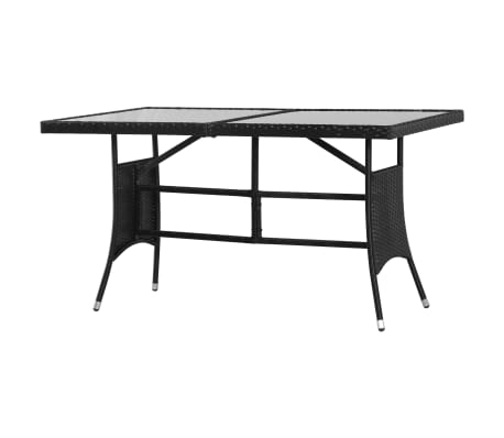 vidaXL Garden Table Black 140x80x74 cm Poly Rattan