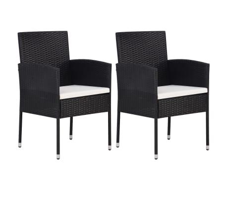vidaXL Garden Chair 2 pcs Poly Rattan Black