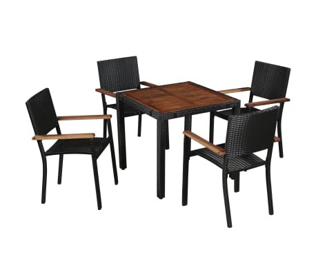vidaXL 5 Piece Outdoor Dining Set Poly Rattan and Acacia Wood Black