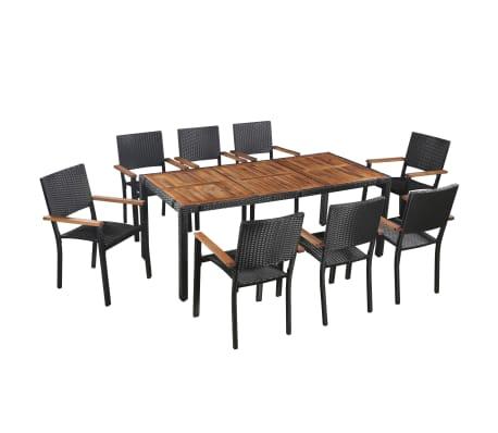 vidaXL udendørs spisebordssæt 9 dele polyrattan akacietræ sort