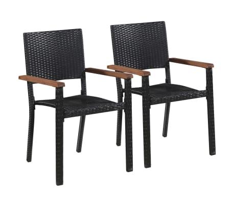 vidaXL Outdoor Chairs 2 pcs Poly Rattan Black