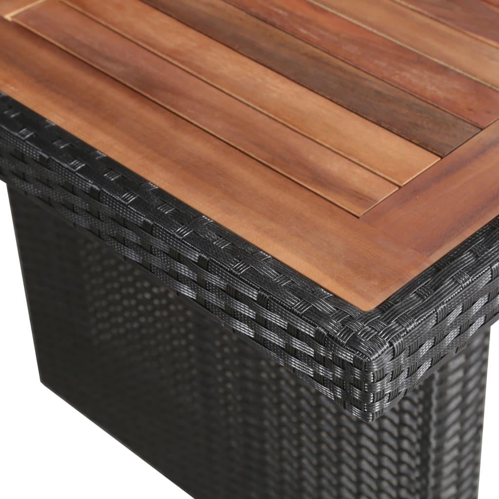 vidaXL Tuintafel 240x90x74 cm poly rattan en massief hout