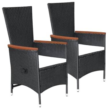 Set Giardino In Polyrattan.Vidaxl Outdoor Chairs 2 Pcs With Cushions Poly Rattan Black