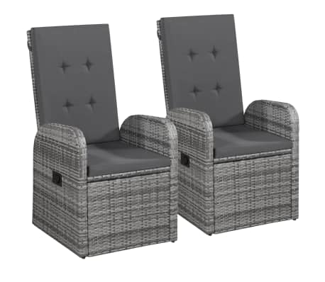 vidaxl gartenst hle 2 stk mit polstern poly rattan grau. Black Bedroom Furniture Sets. Home Design Ideas