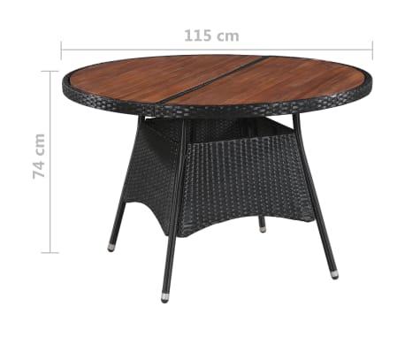 vidaXL Table de jardin 115x74cm Résine tressée et bois d\'acacia solide