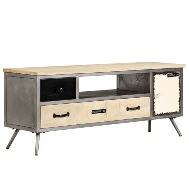 "vidaXL TV Cabinet Solid Mango Wood and Steel 47.2""x11.8""x17.7""[12/13]"