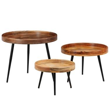 vidaXL 3d. staliukų komplektas, mango medienos masyvas ir plienas[1/17]