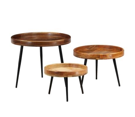 vidaXL 3d. staliukų komplektas, mango medienos masyvas ir plienas[13/17]