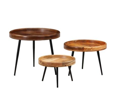 vidaXL 3d. staliukų komplektas, mango medienos masyvas ir plienas[15/17]