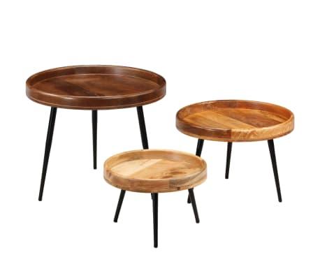 vidaXL 3d. staliukų komplektas, mango medienos masyvas ir plienas[16/17]