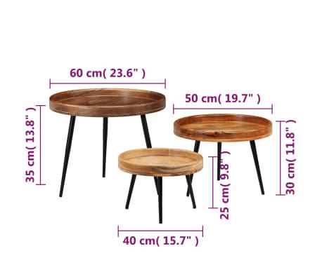vidaXL 3d. staliukų komplektas, mango medienos masyvas ir plienas[10/17]