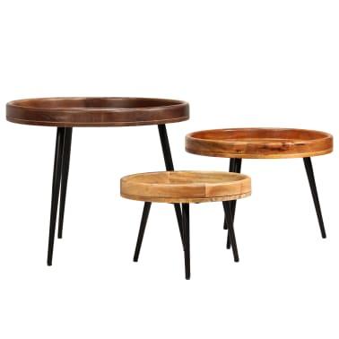 vidaXL 3d. staliukų komplektas, mango medienos masyvas ir plienas[11/17]