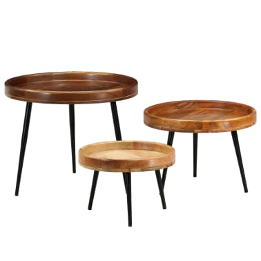 vidaXL 3d. staliukų komplektas, mango medienos masyvas ir plienas[12/17]