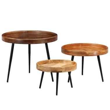 vidaXL 3d. staliukų komplektas, mango medienos masyvas ir plienas[14/17]